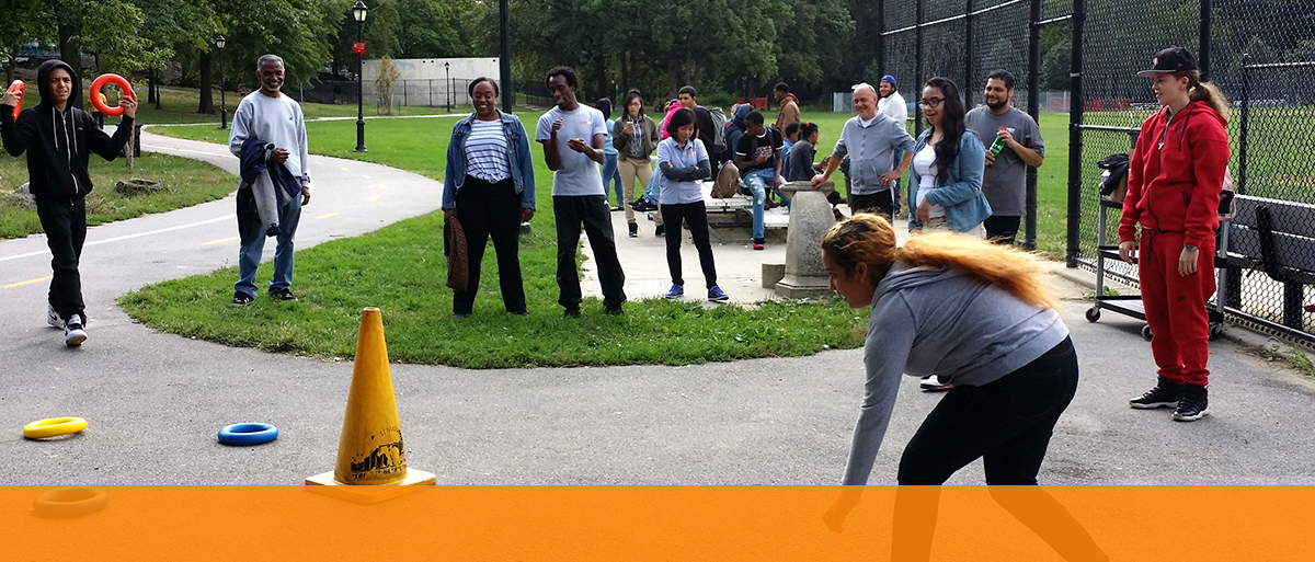 CUNY Prep students playing at a park